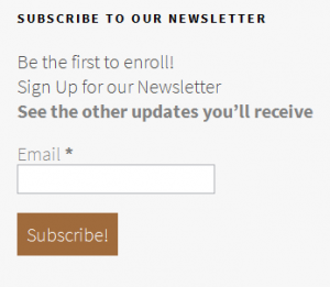 charity newsletter subscription form with clear benefits and engaging call to action