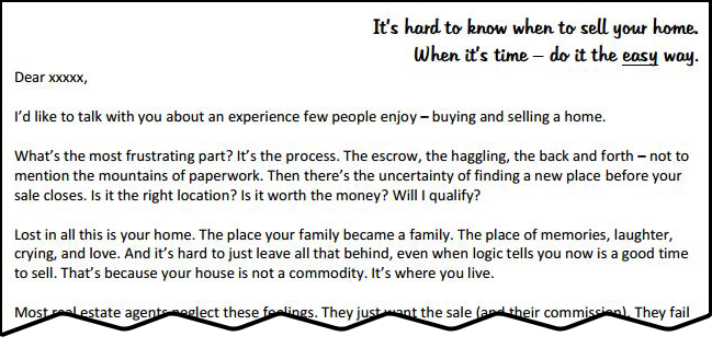 Sales Letter asking to purchase homes from uncertain sellers in suburban neighborhood