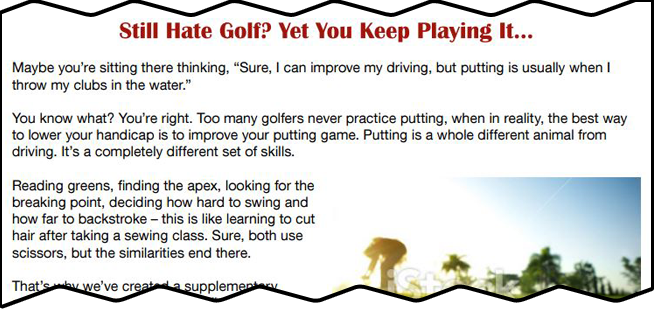 Sales page for new golf product — long form