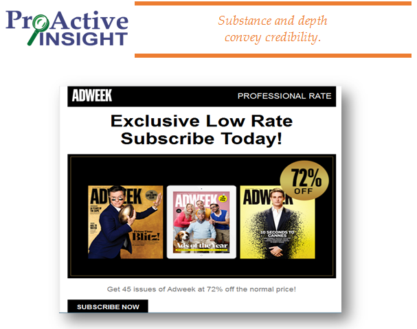 this magazine ad promotional email fails big time because it's length is way too short